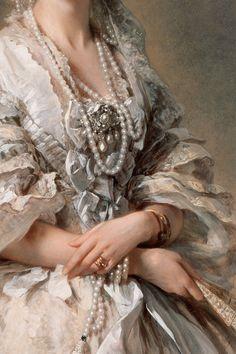 Portrait of Maria Alexandrovna (Marie von Hessen) by Franz Xaver Winterhalter - Oil on canvas - c. 1857 - Detail