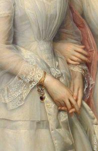 Heinrich August Georg Schiøtt - Danmark 1823-1895 - Portrait of the sisters Malvina Anny Louise and Hilda Sophie Charlotte Reventlow - Detail