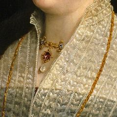 Particolari numero 4. Parmigianino: Camilla Gonzaga, contessa di San Secondo ed i suoi figli. Olio su tavola del 1539-40