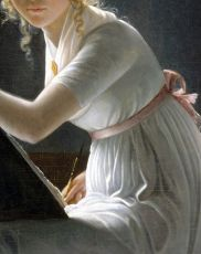 Marie-Denise Villers,Portrait of Young Woman Drawing,detail,1801.