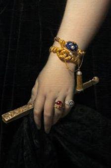 Jean-Auguste-Dominique Ingres, Madame Moitessier 1851, detail.